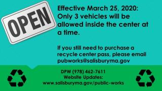 Recycle Center Open, only 3 cars admitted at a time